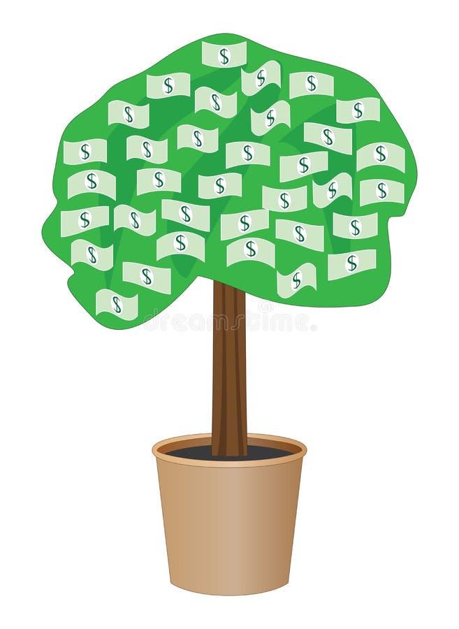 Gotówkowy drzewo w garnku royalty ilustracja