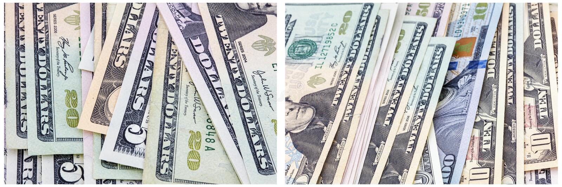 Gotówkowy papierowego pieniądze wyznań kolaż fotografia stock