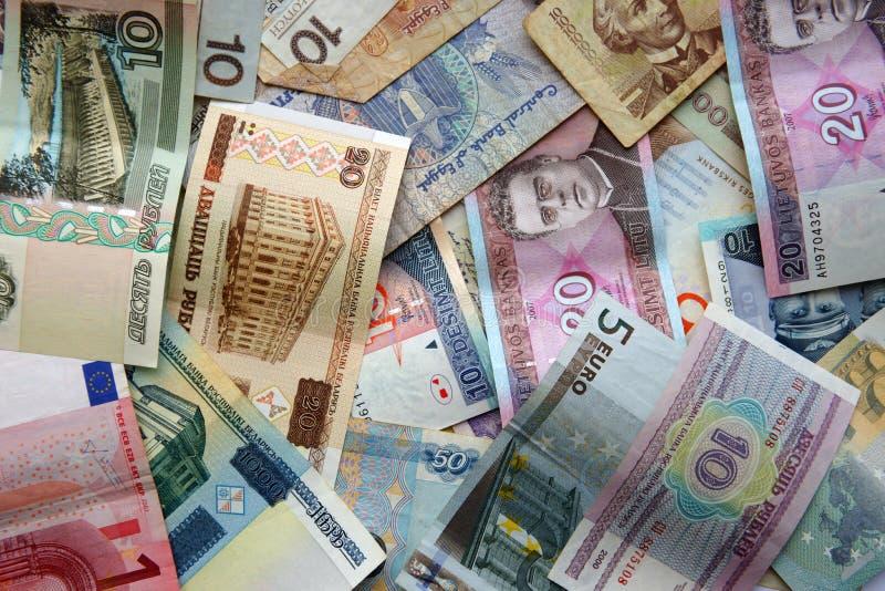 Gotówkowy papierowy pieniądze różni kraje obraz stock