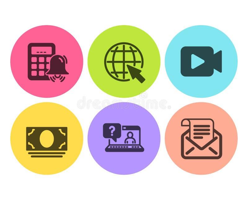 Gotówkowy pieniądze, kalkulator alarmowy i Internetowe ikony ustawiać, Faq, kamera wideo i poczty gazetki znaki, wektor royalty ilustracja