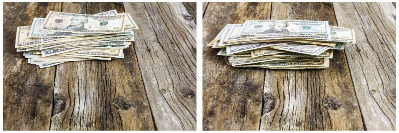 Gotówkowych palowych papierowego pieniądze savings retro drewno obraz stock