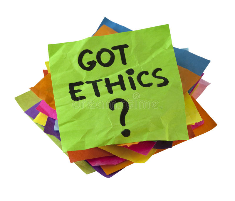 Got ethics?. Are you ethical question. A stack of colorful reminder notes isolated on white with clipping path royalty free stock images