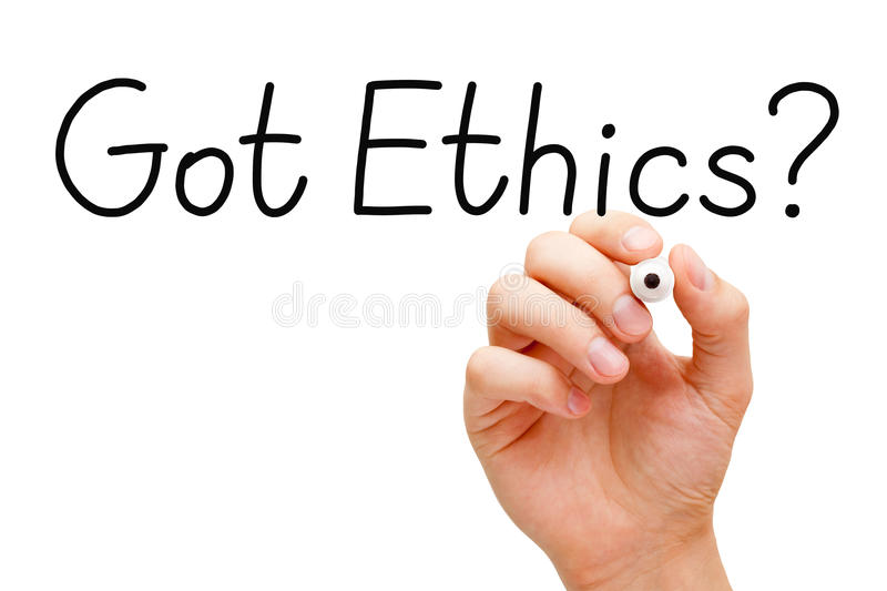 Got Ethics Black Marker. Hand writing Got Ethics? question with black marker on transparent wipe board royalty free stock images