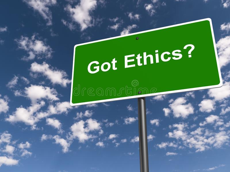 Got ethics traffic sign. On blue sky royalty free stock images