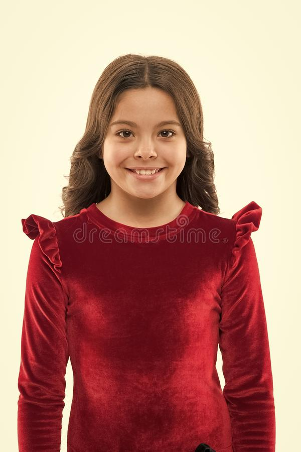 She got great style. Fashion girl. Adorable girl child in fashionable clothes. Little kid with stylish long hair. Happy. Small child. Fashion look of small stock photography