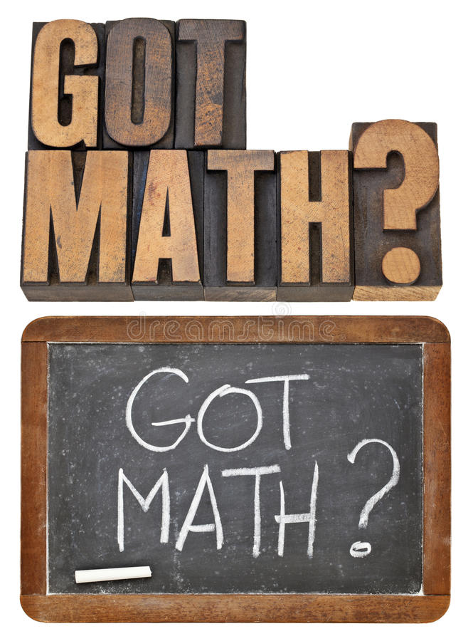 Got math question. In two versions - isolated text in vintage letterpress wood type and white chalk handwriting on retro slate blackboard royalty free stock photography
