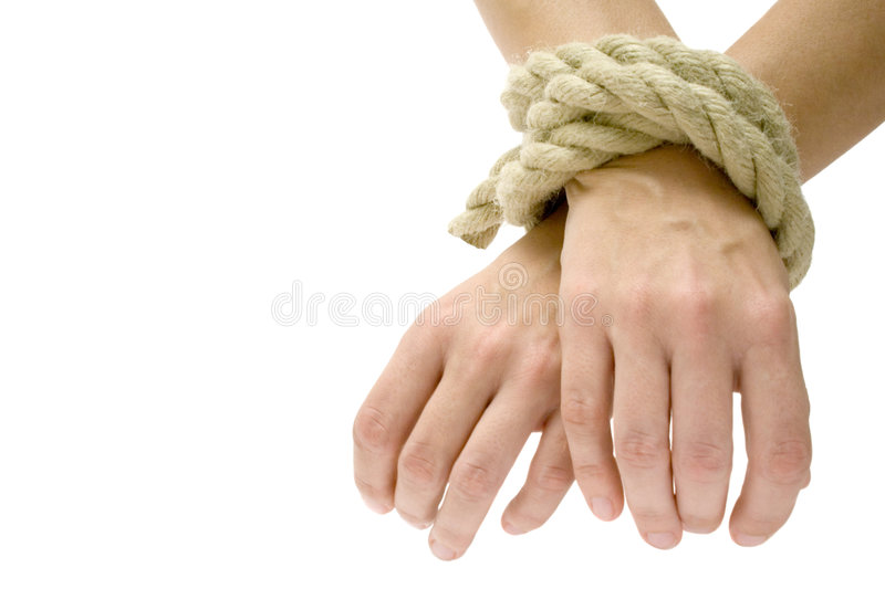 Got U. Hands tied. Isolated on a white background