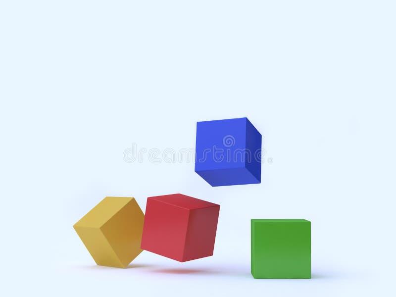 Gota amarela azul verde vermelha do cubo colorido na terra com rendição do fundo 3d ilustração royalty free