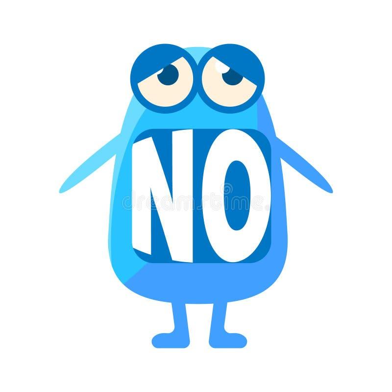 Gota azul que dice no, carácter lindo de Emoji con palabra en la boca en vez de los dientes, mensaje del Emoticon stock de ilustración