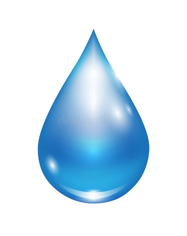 Gota da água azul na ilustração realística clara do vetor isolada no branco ilustração royalty free