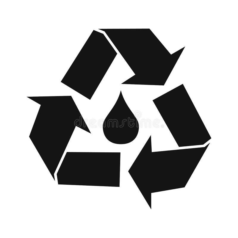 A gota da água com recicl o símbolo ilustração do vetor