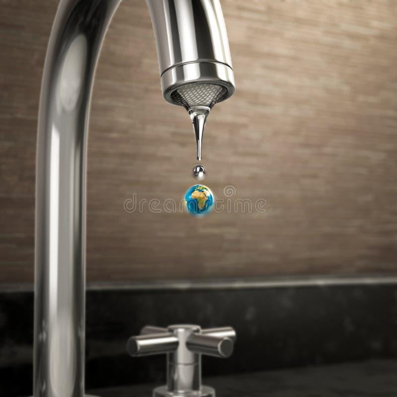 Gota da água da terra do planeta que sai da torneira ilustração stock