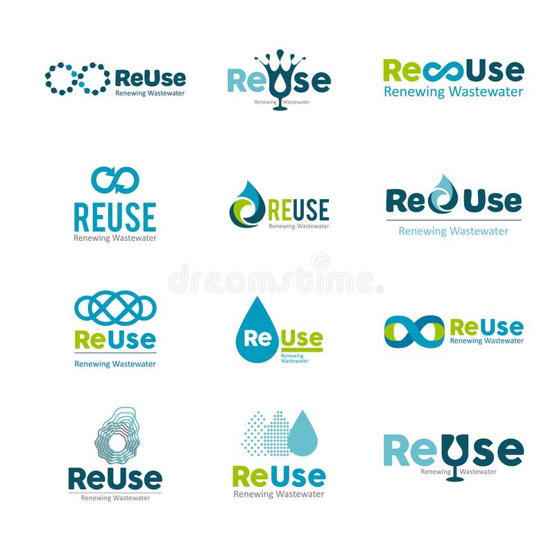 Gota da água - ilustração do conceito do molde do logotipo do negócio do vetor Sinal criativo da água azul Elemento do projeto Ág ilustração stock