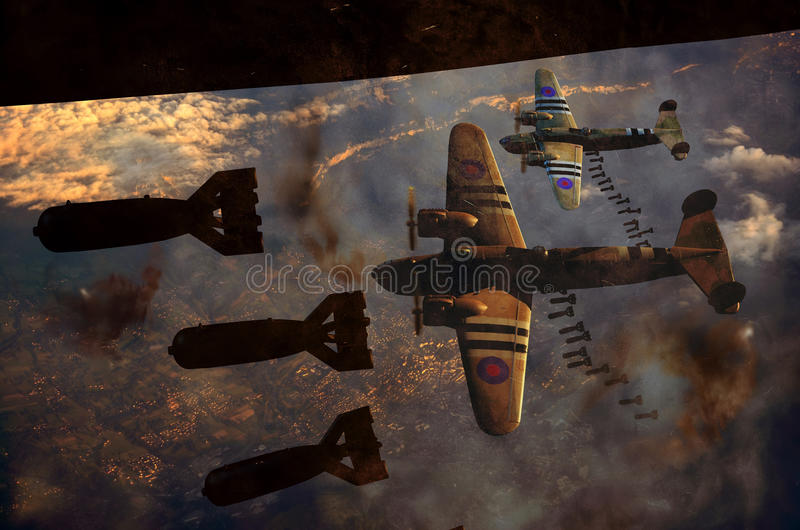 Gota da bomba da segunda guerra mundial ilustração stock