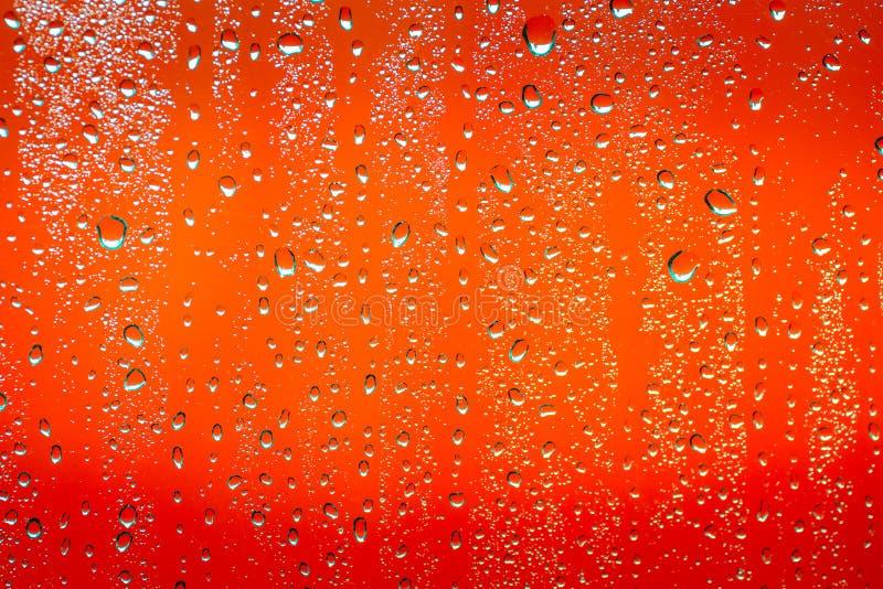 Gota da chuva no fundo alaranjado fotos de stock