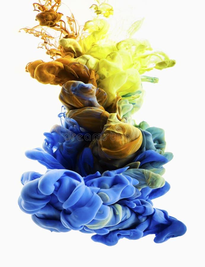 Gota da cor Ouro, azul imagens de stock royalty free