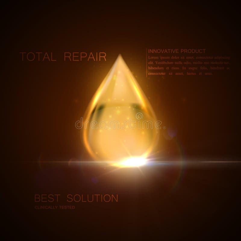 Gota da essência do soro ou do óleo do colagênio ilustração do vetor