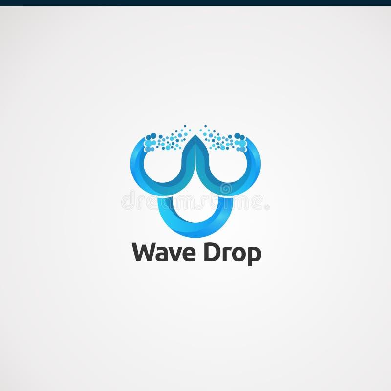 Gota da onda com vetor, ícone, elemento, e molde digitais do logotipo do conceito para o negócio ilustração royalty free
