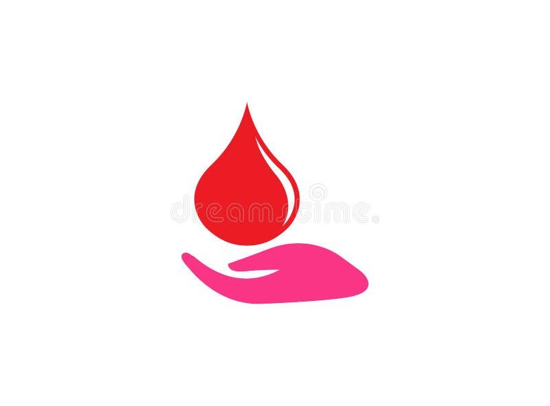 Gota da posse da mão de sangue um símbolo da doação para a ilustração do projeto do logotipo em um fundo branco ilustração royalty free