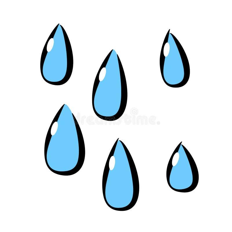 Gota de agua, icono, estilo del dibujo del ` s de los niños stock de ilustración