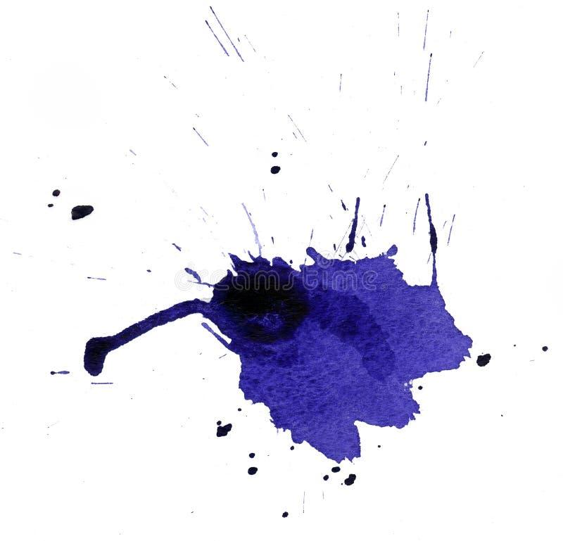 Gota de la acuarela azul fotos de archivo