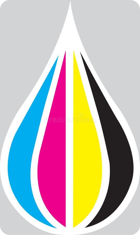 Gota de la tinta de Cmyk stock de ilustración