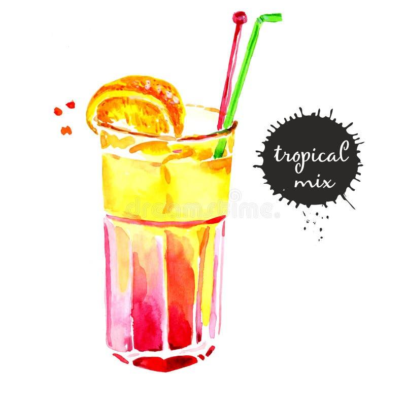 Gota de limones exhausta del cóctel de la acuarela del bosquejo de la mano stock de ilustración