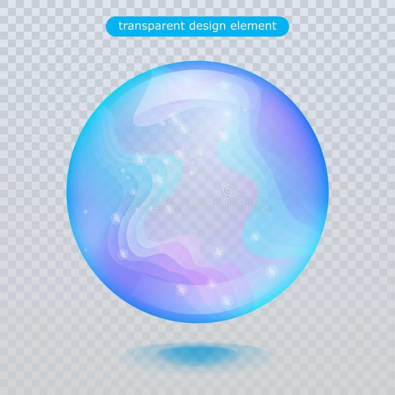 Gota de lluvia del agua aislada en fondo transparente Burbuja del agua o bola superficial de cristal para su diseño ilustración del vector