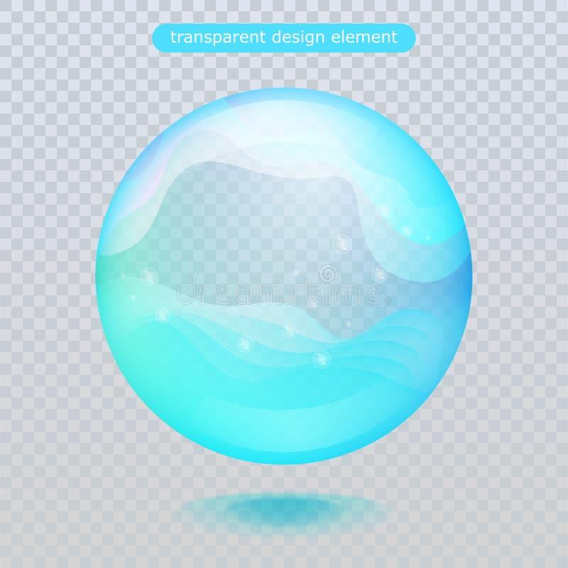 Gota de lluvia del agua aislada en fondo transparente Burbuja del agua o bola superficial de cristal para su diseño stock de ilustración