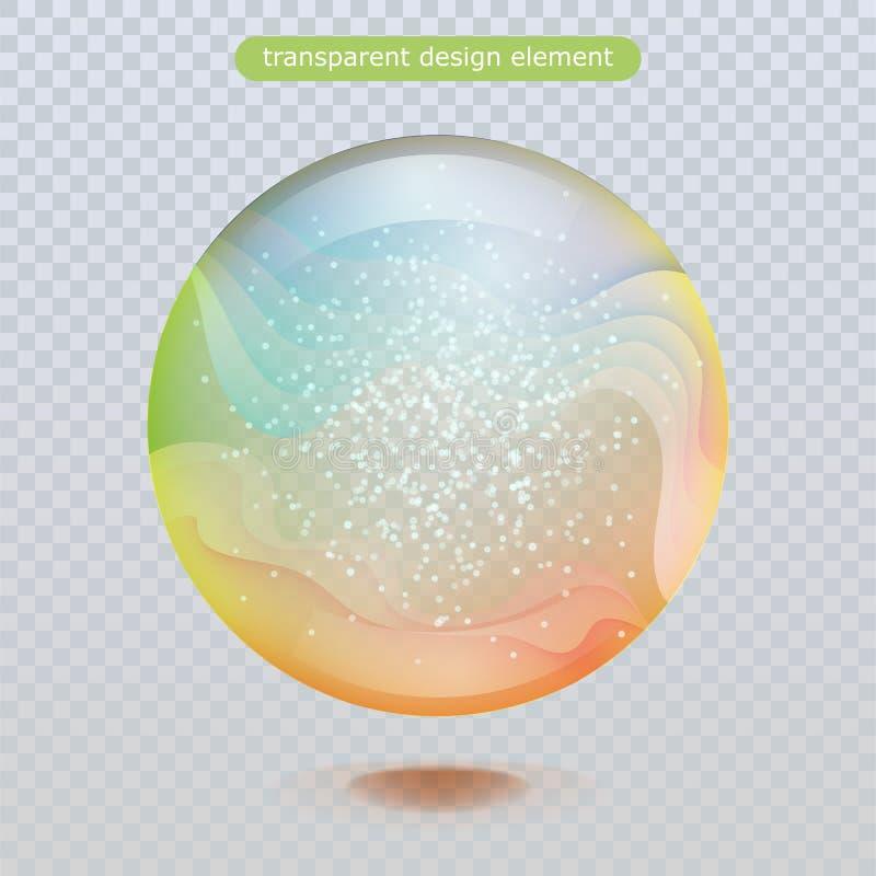 Gota de lluvia del agua aislada en fondo transparente Burbuja del agua o bola superficial de cristal para su diseño libre illustration
