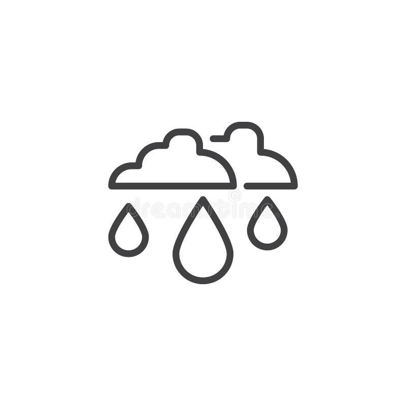 Gota de lluvia e icono del esquema de las nubes libre illustration