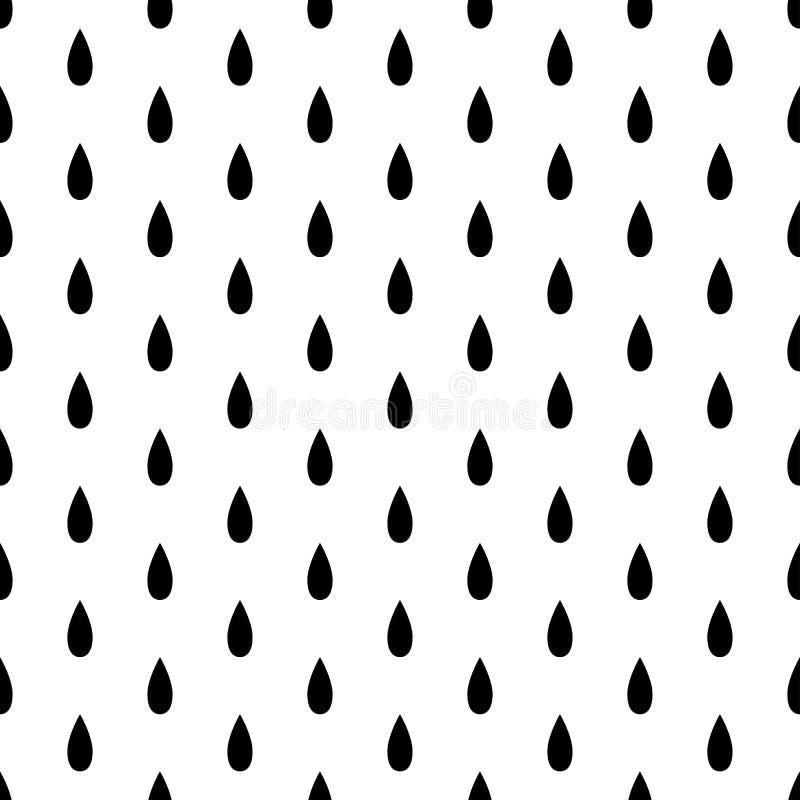Gota de lluvia negra inconsútil en el fondo blanco Ilustración del vector stock de ilustración