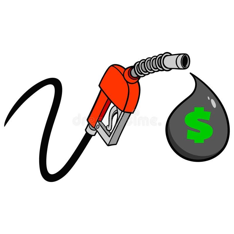 Gota de preço no abastecedor do gás ilustração royalty free