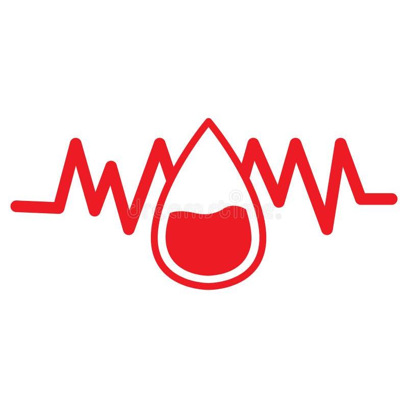 Gota de sangre con el cardiograma ilustración del vector