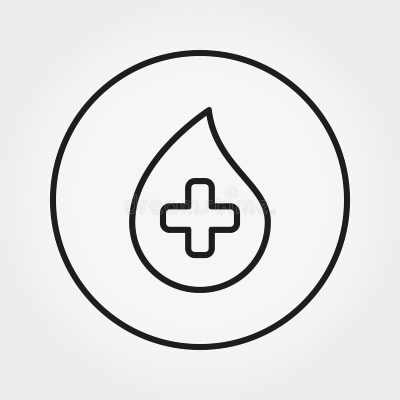 Gota de sangre con la cruz Icono universal Vector Línea fina Editable ilustración del vector