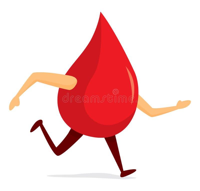 Gota de sangre que corre rápidamente stock de ilustración
