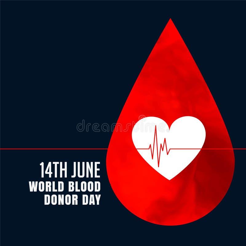 Gota de sangre roja con el fondo del concepto del corazón ilustración del vector