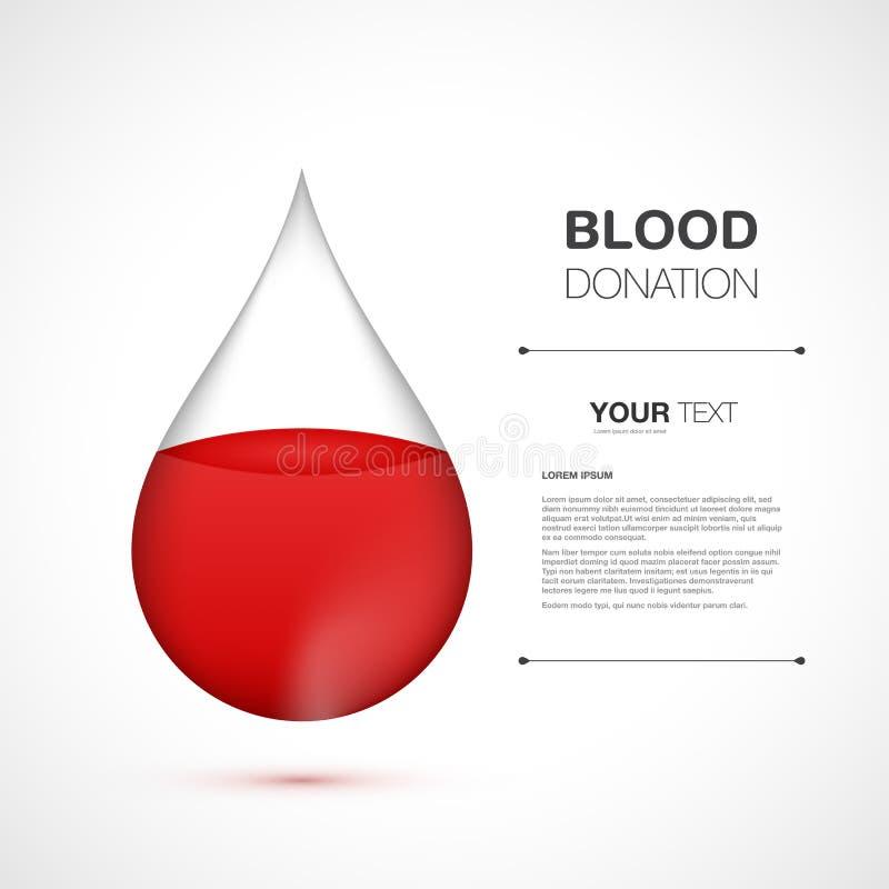 Gota de sangre roja con su contenido aislado en el fondo blanco stock de ilustración