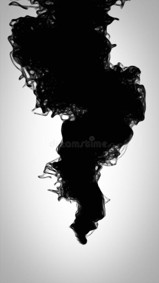 Gota de tinta preta na água isolada no branco fotografia de stock