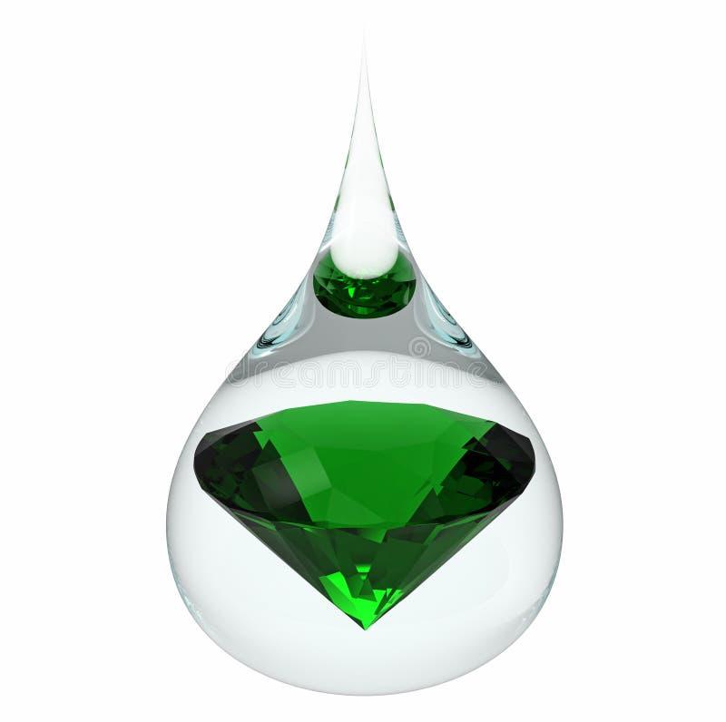 Gota del agua con la esmeralda stock de ilustración
