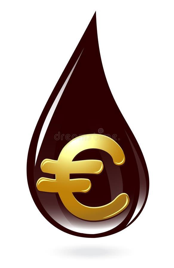 Gota del petróleo con símbolo euro ilustración del vector