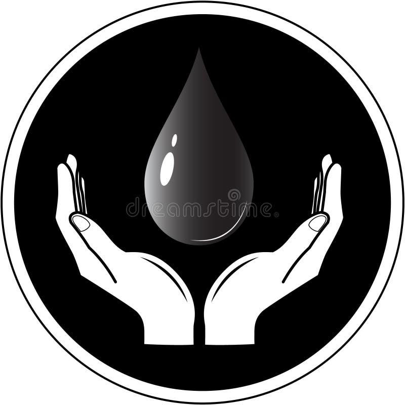 Gota del vector en icono de las manos libre illustration