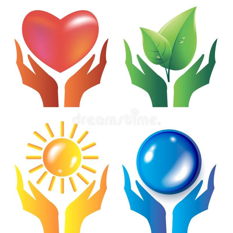 A gota do coração das mãos deixa ícones do sol da máscara ilustração royalty free