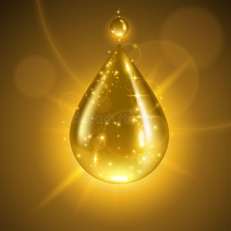 Gota do líquido do ouro ilustração do vetor