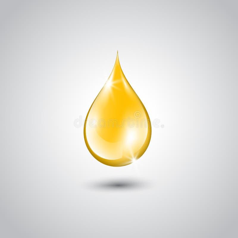 Gota do ouro da essência do óleo ilustração do vetor