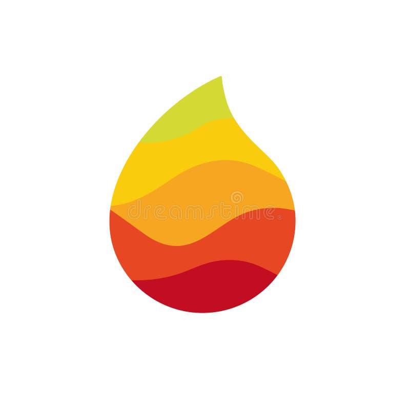 A gota do suco, o legume fresco e o cocktail de fruto deixam cair o logotype Ícone colorido da gota da bebida, logotipo simples d ilustração do vetor