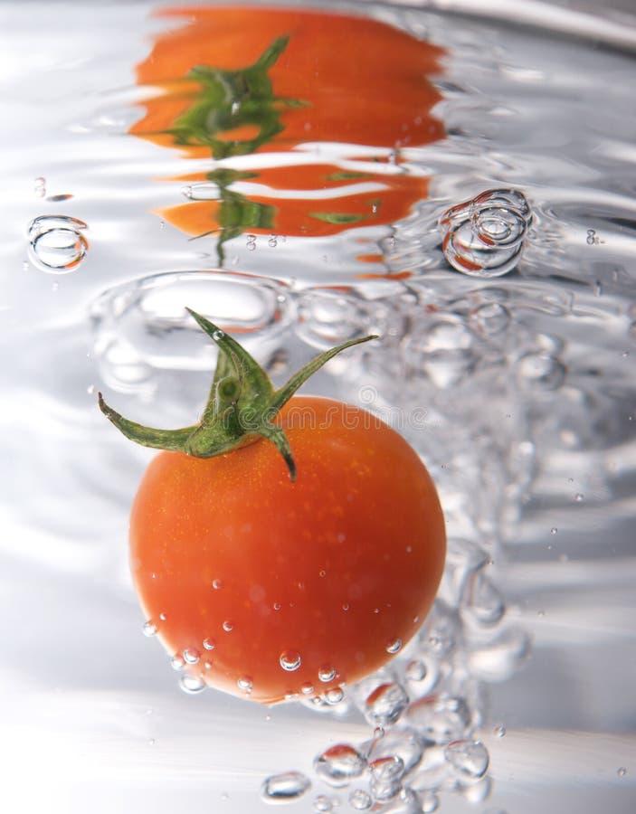 Gota do tomate na água imagem de stock royalty free