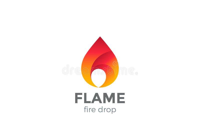 Gota do vetor do projeto do logotipo da chama do fogo Gota vermelha ilustração royalty free