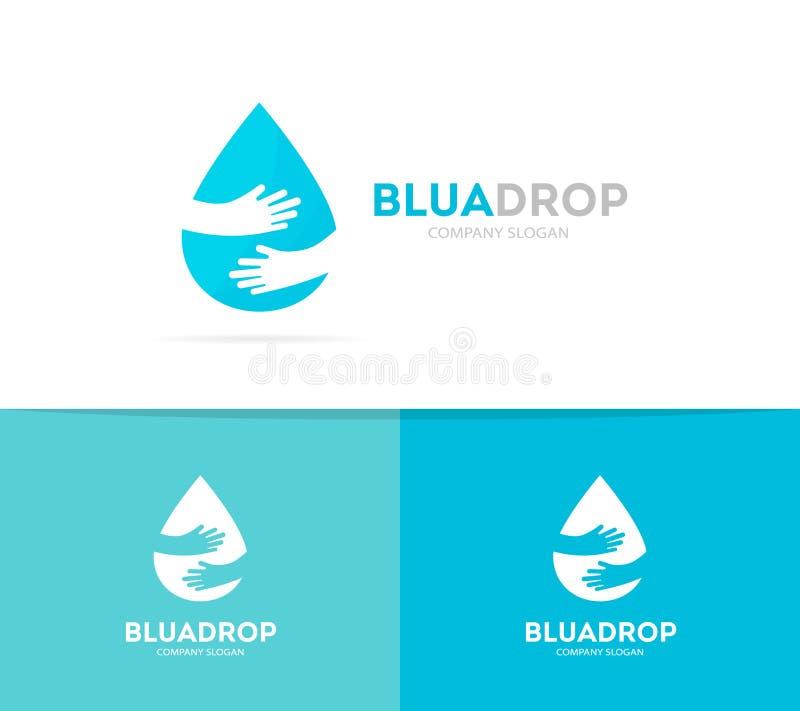 Gota do vetor e combinação do logotipo das mãos Aqua e símbolo ou ícone do abraço Molde original do projeto do logotype da água e ilustração do vetor