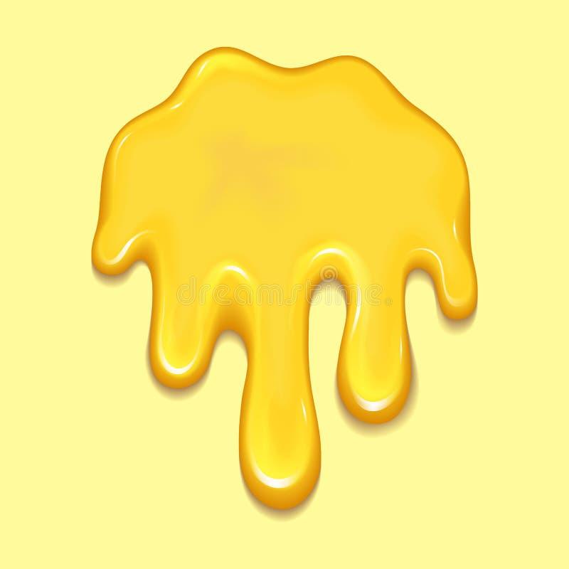 A gota e o amarelo alaranjados do mel espirram a ilustração líquida do vetor do gotejamento do alimento dourado saudável do xarop ilustração royalty free